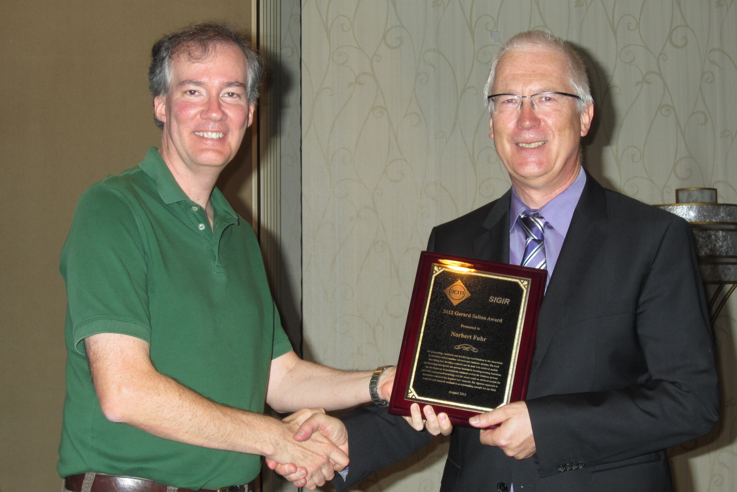 """And the award goes to the best dressed man in the room"" - Norbert Fuhr receiving the Salton Award at SIGIR 2012"
