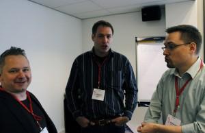 Organizers talk with Ingo